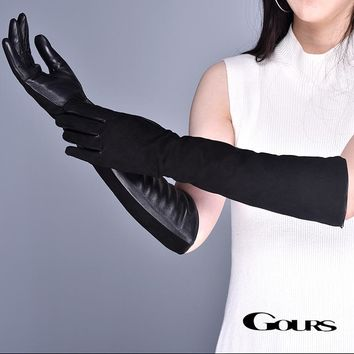 Genuine Black Suede and Leather Long Women's Gloves