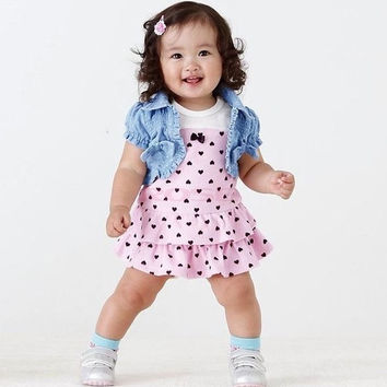 New Fashion Baby Girl Clothes Suits Setdenim Short Jacket+Dress Outfit Set 20148|28001 Children's Clothing = 1930106052