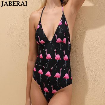 JABERAI Women Backless One Piece Swimsuit Flamingos Print Swimwear Halter Push Up Swim Suit Female Bodysuit Beach Bathing Suit