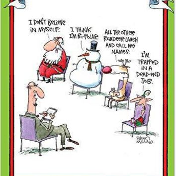 36 'Group Therapy Boxed Christmas' Greeting Cards with Envelopes -  Note Cards with Funny Cartoon Featuring Santa, Snowman, Reindeer and Elf, Stationery for Holidays & Gifts