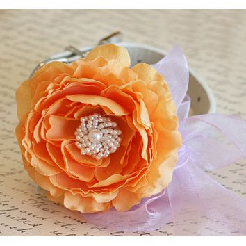 Peonies Pastel Orange and Lavender Wedding, Floral Dog Collar, Pet Wedding accessory