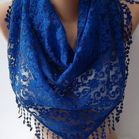 NEW- Mothers Day Gift  Cobalt - Lace Shawl/ Scarf - Headband with Lace Edge