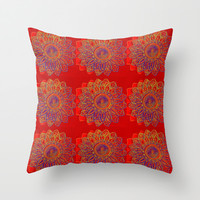 Red Star Burst Throw Pillow by 2sweet4words