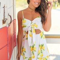 White Lemon Printed Short Dress with Cut Out