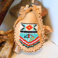 Medicine Bag, Leather Pouch, Handmade, Handsewn, Hand Beaded Four Directions, Medicine Wheel Design, Native American, Powwow, Regalia