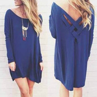 Blue Cross Back Long Sleeve Dress