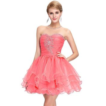 Cute Homecoming Short Prom Dresses Sequins  Ball Gown Pink Purple Puffy Dancing Party Dress