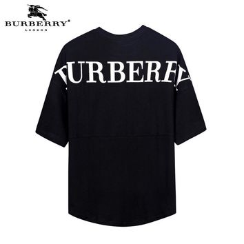 Burberry 2019 new back letter printed loose round neck half-sleeved T-shirt Black