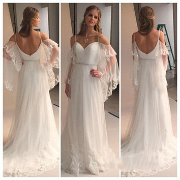 2017 Boho Off Shoulder White Women Wedding Evening Flowing DResses Long Bohemian Beach Formal Dress Chic Long Flare Sleeves Gown