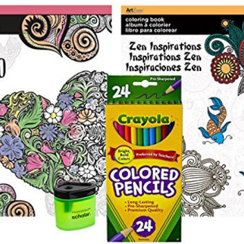 Crayola Colored Pencils (24), Prismacolor Pencil Sharpener, and 2 Adult Coloring Books (Boho and Zen Inspirations)