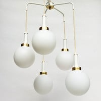 Mid century Modern  Pendant Light / Five Bubble Drops Chandelier / Hanging Ceiling Lamp / White