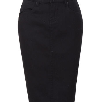 LE3NO Womens High Waisted Denim Jean Pencil Midi Skirt with Stretch
