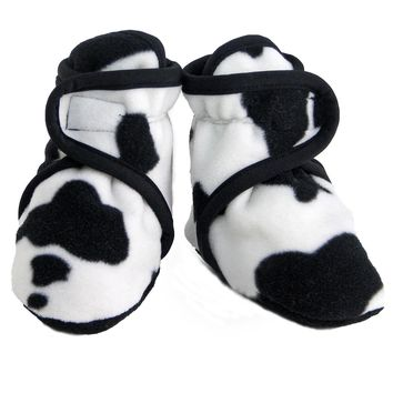 Fleece Baby Booties Cow