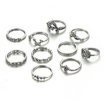 BELOVING 10Pcs Bohemian Vintage Crystal Knuckle Joint Nail Ring Set Sun Moon Ring Set Finger Rings