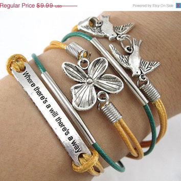 STORE WIDE SALE Silver Two Birds Flower Charms Yellow Leather Friendship Bracelet