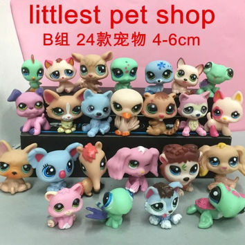 Newest 24 pcs set Littlest Pet Shop Anime Cute Animals Q Pet Shop Action Figure Collection Toys Scale Models toys