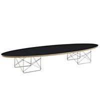 "Mid Century Modern Elliptical ""Surfboard"" Coffee Table Black"
