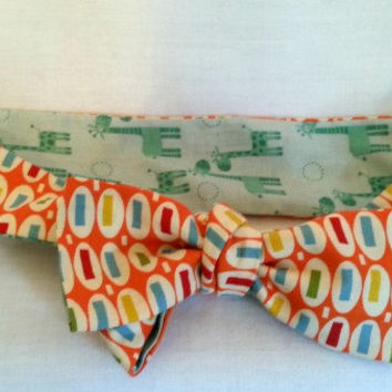 Blue & Orange Giraffe Headwrap - Reversible - Baby Toddler Head Wrap - Knot Tie Headband - Big Bow Head Wrap -  Retro Knot Head Wrap -