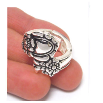 Crazy Fun Utensil Inspired Wrap Silver Stretch Ring