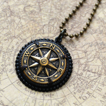 Compass Necklace, Nautical Necklace, Wanderlust, Long Compass Necklace, Graduation Gift, Antiqued Brass Compass Jewelry, SRAJD