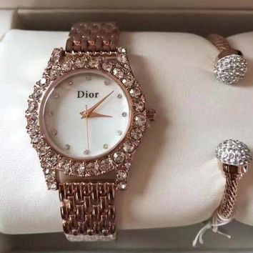 Kalete Dior Women Fashion Trend Quartz Movement Diamonds Wristwatch Watch Set Two-Piece