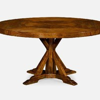 "60"" Country Walnut Round Dining Table for Inbuilt Lazy Susan"