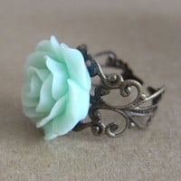 Mint Floral Rose Ring Antique Filigree 1 by ArisumiTreasures