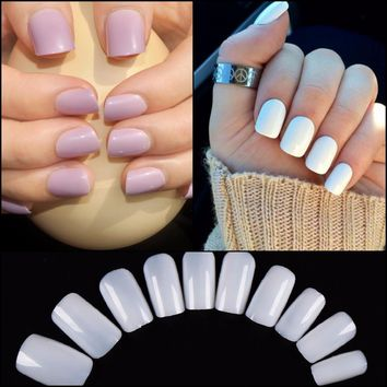 3 Color 100pcs Square False Nail Tips Full Cover Fake Nails Artificial Manicure Fake Nail Tips