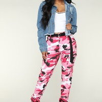 Don't Call Me High Rise Joggers - Pink Camo