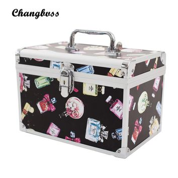 Perfume-Bottle Pattern Lady Make Up Box Professional Makeup Bag Quality Lock Big Capacity Travel Cosmetic Bag Tools Necessaries