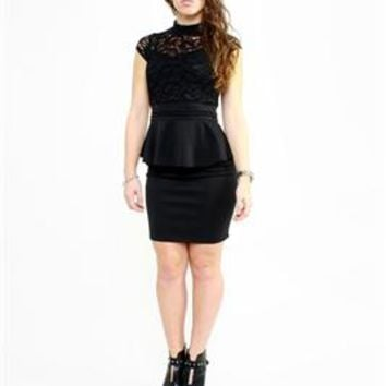 Lucille Peplum Dress Black