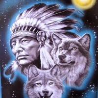 Indian Cheif & Wolf Polar Fleece Throw Blanket 50x60