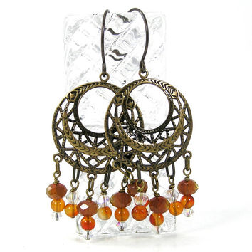 Carnelian Chandelier Hoop Earrings