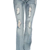 Faded Blue Distressed Design Flared Leg Low Rise Jeans