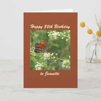 Happy 80th Birthday Greeting Card Butterfly Custom