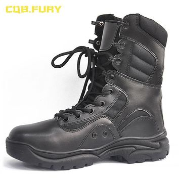 CQB.FURY Black Mens Leather Military Tactical Boots Ankle Combat Breathable Army Boots solid lace-up leather shoe size 38-46