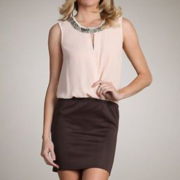 Two Tone Sleeveless Chiffon 2-in-1 TUNIC DRESS Sheer Mini SKIRT Cutout Detail