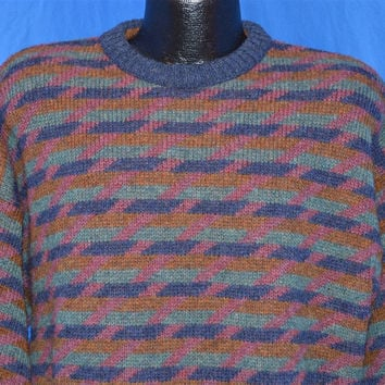 80s Purple Multi Basket Pattern Shetland Wool Sweater Large