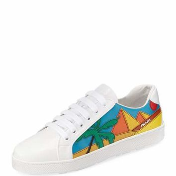 Prada Pyramid Flat Leather Sneaker