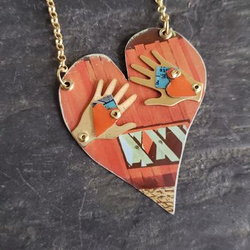 Heart In Your Hands Repurposed Vintage Tin Pendant