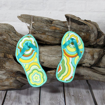 Christmas Ornament Flip Flop  Beach Theme Coastal Decor Set of Two made with Orange and Aqua Floral Fabric Aqua Blue Embroidered Edge