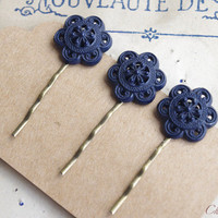 Dark Blue Hair Pin, Bobby Pin, Upcycled Vintage Button Hair Pin, Hair Clip, Bobby Pins, Vintage Inspired Hair Pins
