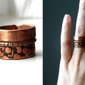 Stacking ring Hammered Copper Stacking Rings set of 3 stack rings, gift for her, industrial chic jewelry, hipster chic