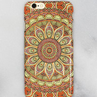 Orange Floral Print iPhone Case