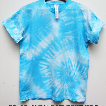 Cute Summer Bright Blue & White Spiral TIE DYE T Shirt by peaceloveandotherstuff