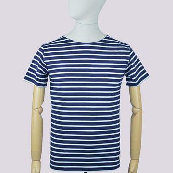 Armor Lux 73842 Classic Short Sleeve T-Shirt in Navy/White