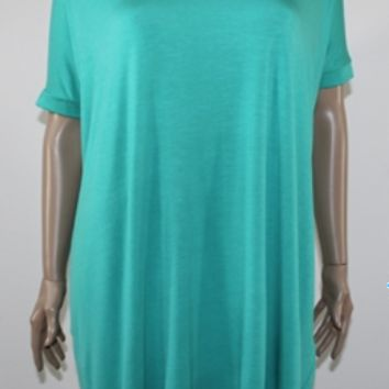 Piko short sleeve tunic top - olive