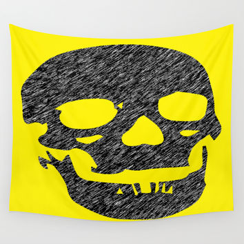 Grunge Skull Wall Tapestry by Superlust