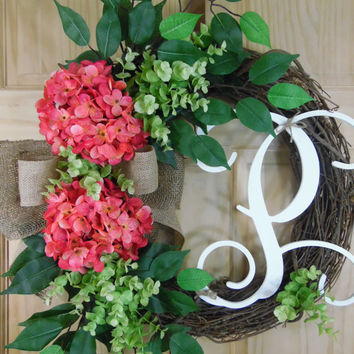 spring wreath - summer Wreaths - Personalised wreath - Hydrangea wreath - mothers day - housewarming - outdoor wreath