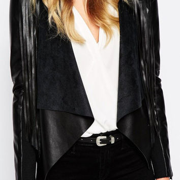 Black Zipper Long Sleeve Non Button Leather Fringed Jacket
